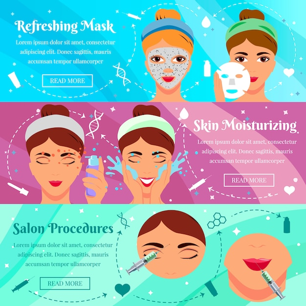 Set of flat banners for procedures of beauty Free Vector