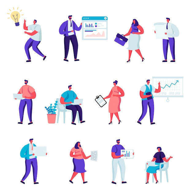 Set of flat business office people characters. Premium Vector