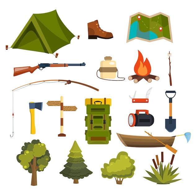 Set of flat camping elements for creating your own badges, logos, labels, posters etc. Free Vector
