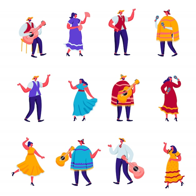 Set of flat celebration of a traditional mexican holiday in colorful traditional clothes characters Premium Vector
