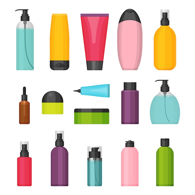 Set of flat colorful cosmetic bottles Premium Vector