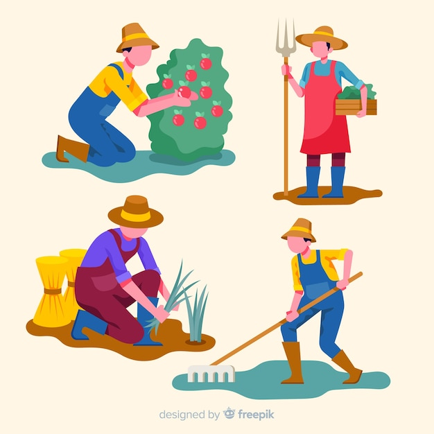 Set of flat design agricultural workers Free Vector