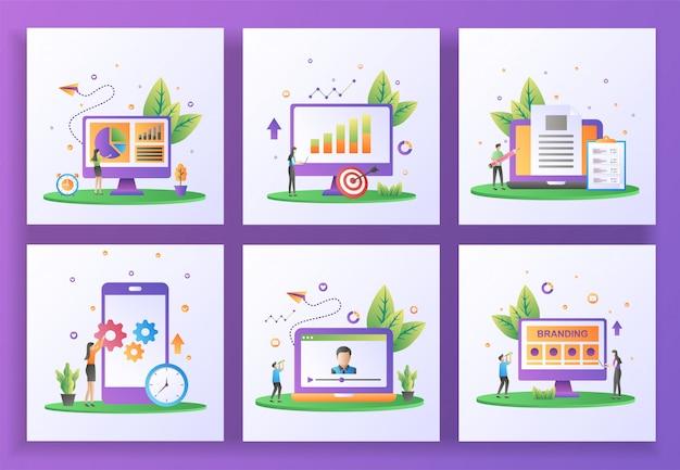 Set of flat design concept. data management, reporting sales, content creator, mobile app update Premium Vector