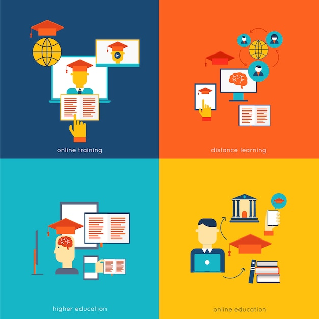 Set of flat design concept icons for web and mobile services and apps vector illustration Free Vector