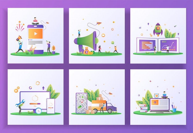 Set of flat design concept. social media marketing, refer a friend, startup business, updating system, delivery service, e-learning. Premium Vector