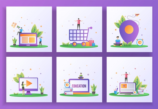 Set of flat design concept. we are hiring, happy shopping, location, video play, online education, e-learning. Premium Vector
