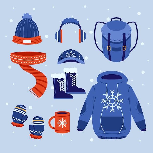 Set di abiti invernali accoglienti design piatto Vettore gratuito
