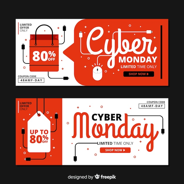 Set of flat design cyber monday banners Free Vector