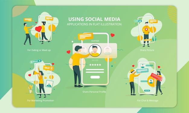 Set of flat design the purpose of people using social media app Premium Vector