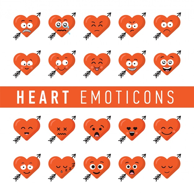 Set of flat design style heart emoticons Premium Vector