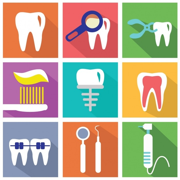 Set of flat elements about dentists Free Vector