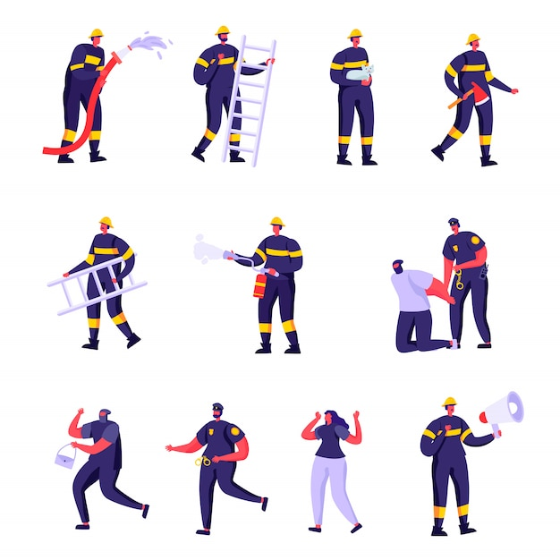 Set of flat firefighters, policemen and victims characters Premium Vector