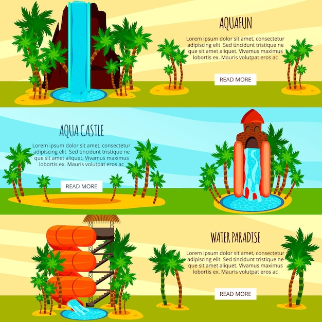 Set of flat horizontal banners entertaining water slides of aqua park isolated on colorful Free Vector