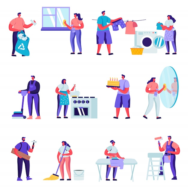 Set of flat householders characters cleaning home characters Premium Vector