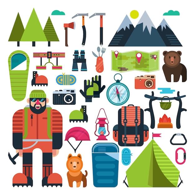 Set flat icon mountaineering Premium Vector