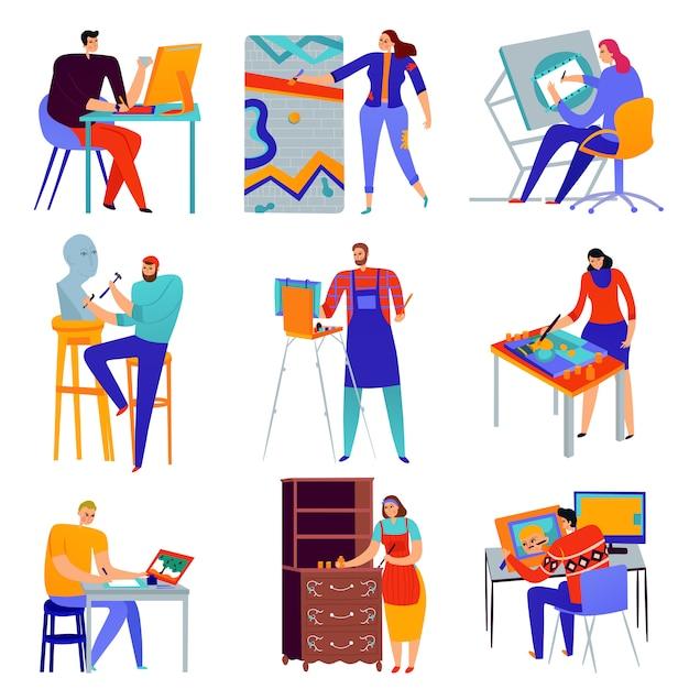 Set di icone piane professioni creative graphic designer pittore maestro del restauratore di sculture isolato Vettore gratuito