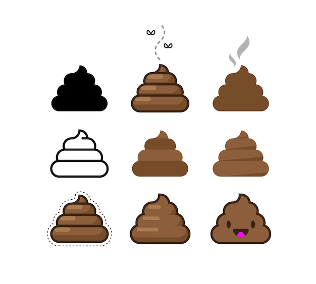 Set of flat icons shit. bunch of brown shit Premium Vector