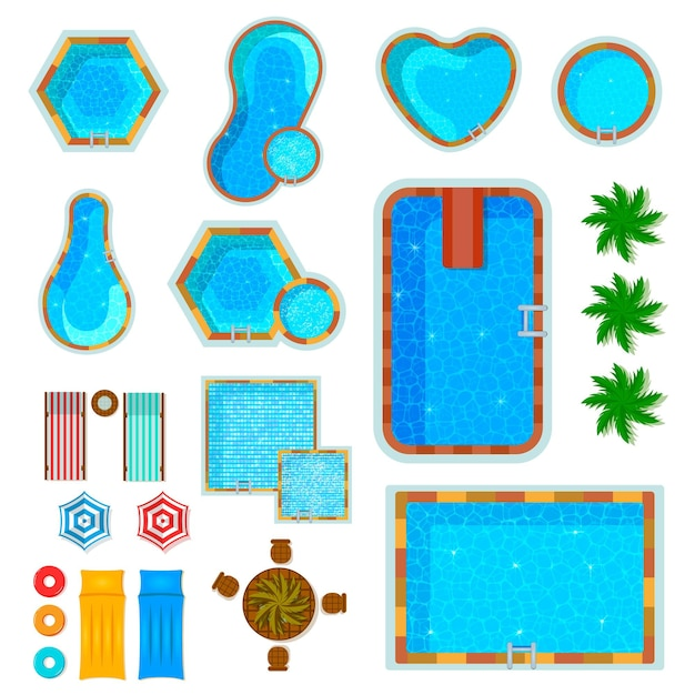 Set of flat icons swimming pools top view with palm trees loungers air mattresses isolated Free Vector
