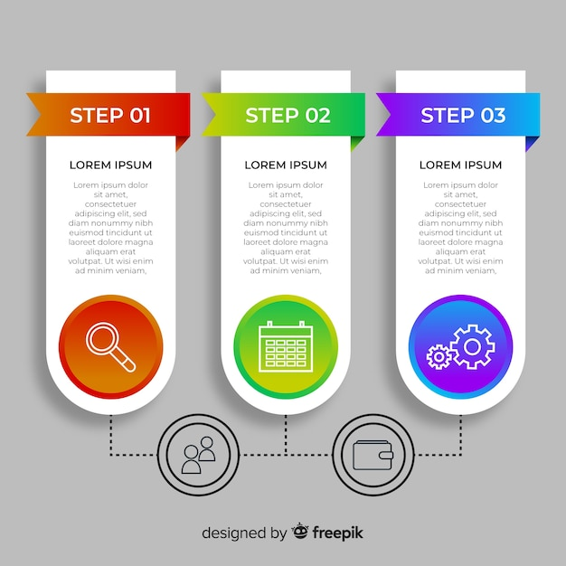 Set of flat infographic steps Free Vector