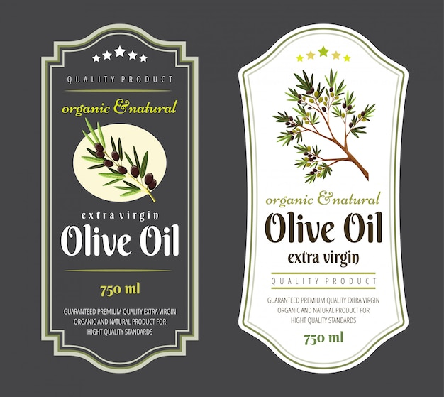 Set of flat labels and badges of olive oil. Premium Vector