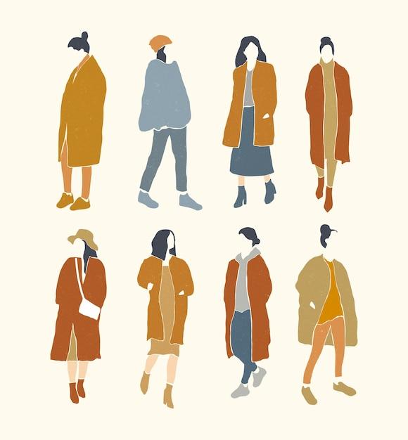 Set of flat minimalistic fashion woman silhouette. Premium Vector