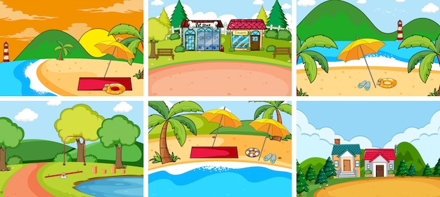 Set of flat nature background Free Vector