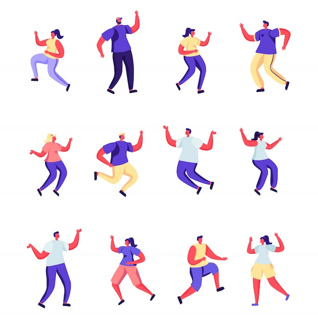 Set of flat people are jumping happiness characters. Premium Vector