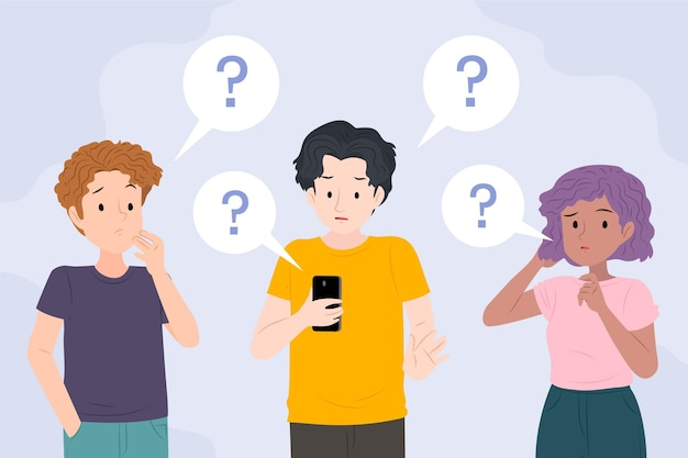 Set of flat people asking questions Free Vector