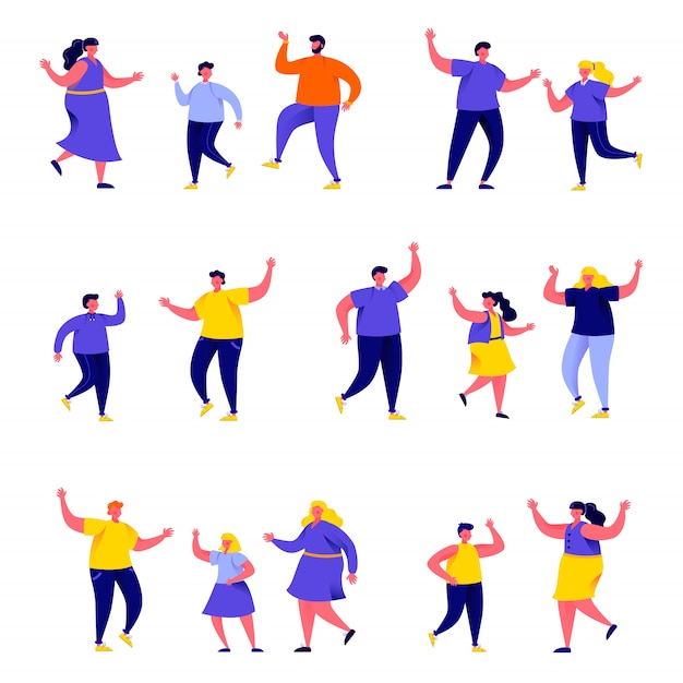 Set of flat people dancing parents with kids characters Premium Vector