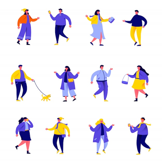 Set of flat people dressed in seasonal clothes or outerwear characters Premium Vector
