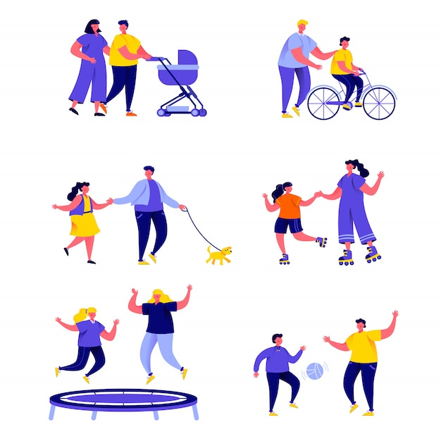 Set of flat people family active holidays characters Premium Vector