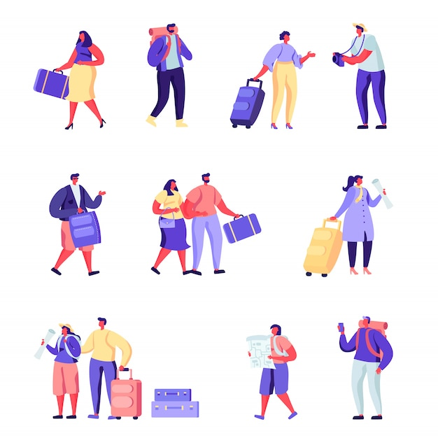 Set of flat people family goes on vacation characters. Premium Vector