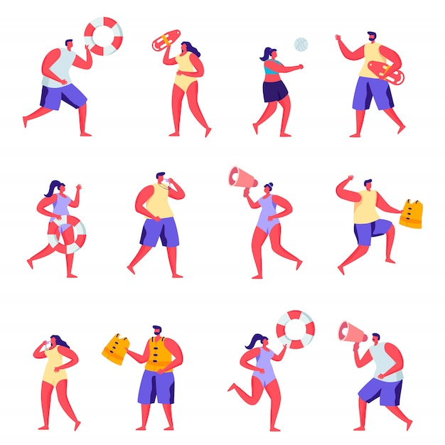 Set of flat people lifeguards on the beach characters. Premium Vector
