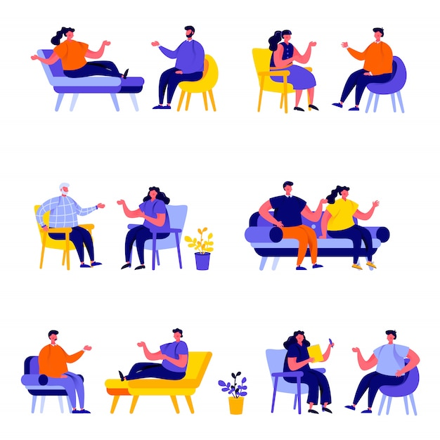 Set of flat people married couples sitting on chairs or lying on sofa characters Premium Vector