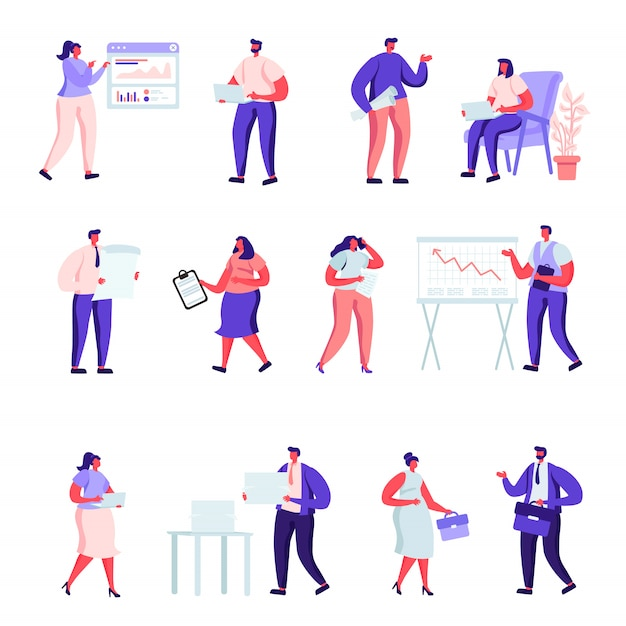 Set of flat people office workers characters. Premium Vector