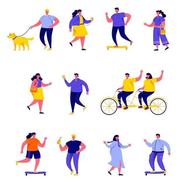 Set of flat people performing summer outdoor activities characters Premium Vector