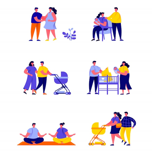 Set of flat people pregnancy and maternity scenes characters Premium Vector