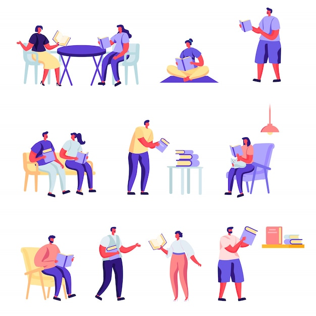 Set of flat people reading or students studying characters. Premium Vector
