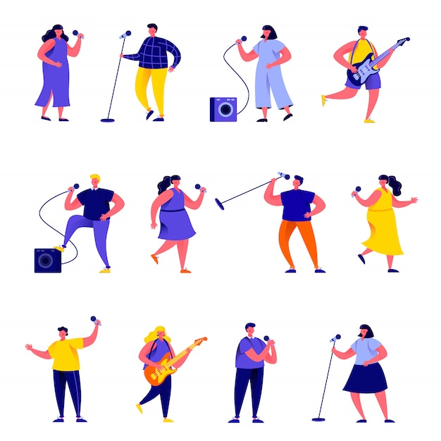 Set of flat people singers with microphones and musicians characters Premium Vector