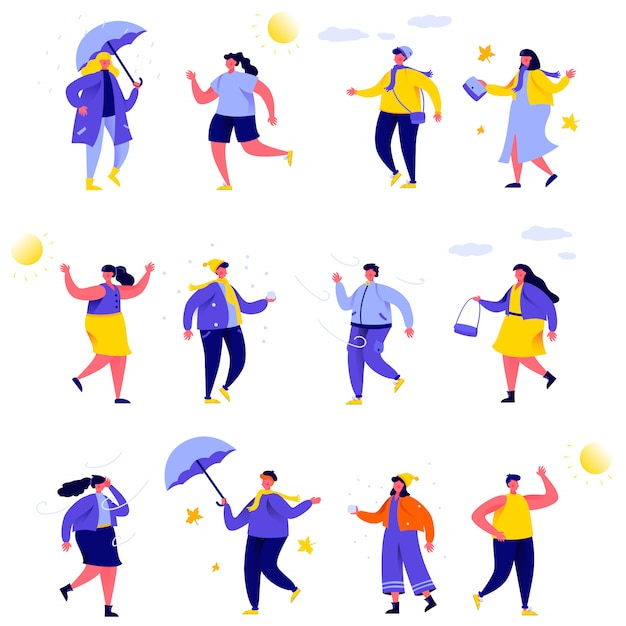 Set of flat people various weather characters Premium Vector