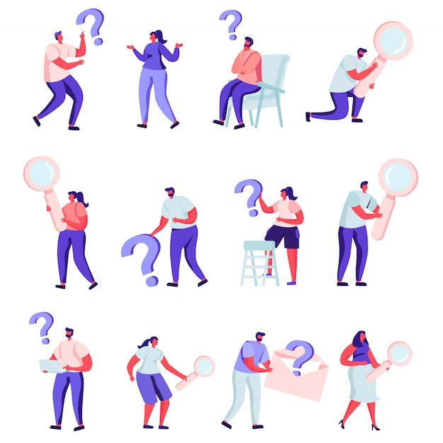 Set of flat people who are looking for something characters. Premium Vector
