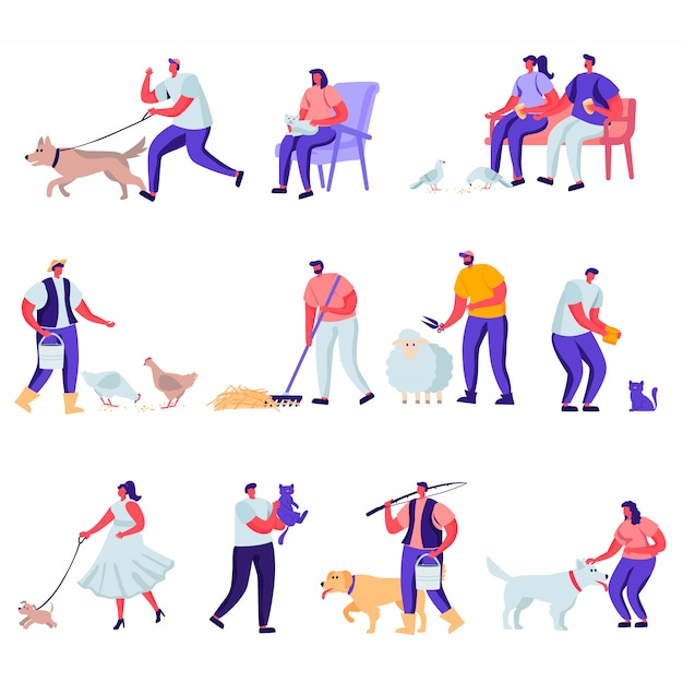 Set of flat pets and domestic animals characters Premium Vector