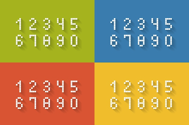 Set of flat pixel numbers on four different color complete zero through nine  vector illustration Free Vector