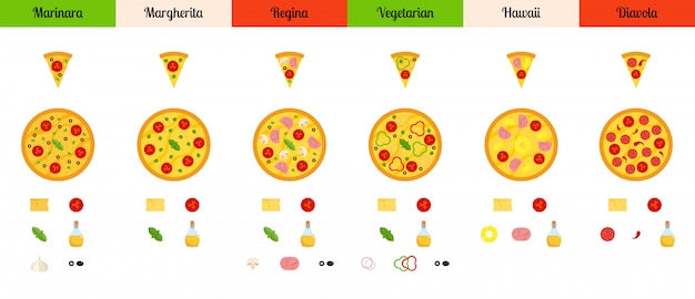 Set of flat pizza and ingredients isolated on white background Premium Vector