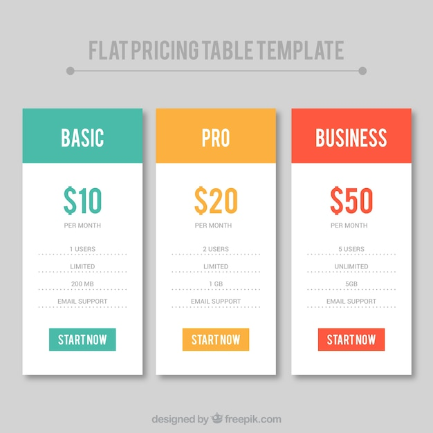 Set of flat price table templates Vector | Free Download