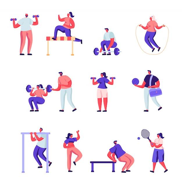 Set of flat professional sport activities characters Premium Vector