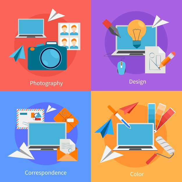 Set of flat square background design concept Free Vector