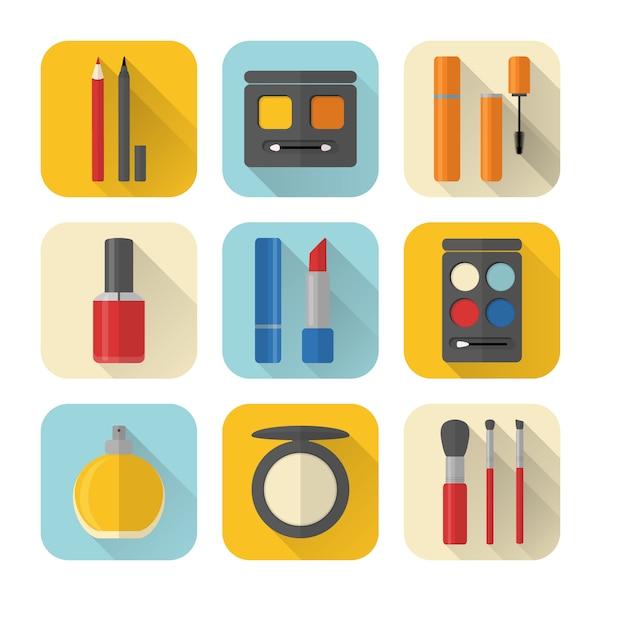 Set of flat style makeup and cosmetics icons Premium Vector