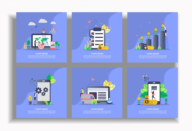 Set of flat template, easy to edit and customize Premium Vector