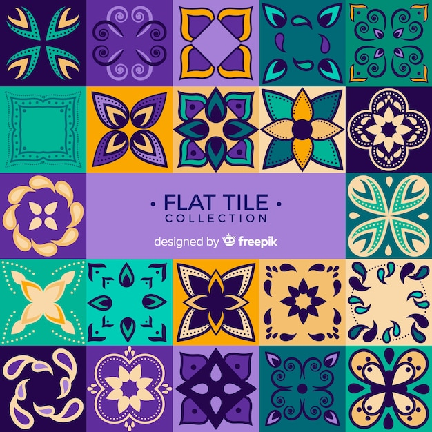 Set of flat tiles Free Vector